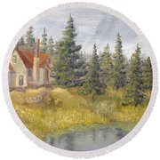 House In The Woods 2  Round Beach Towel