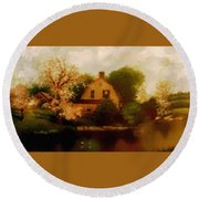 House Near The River. L B Round Beach Towel