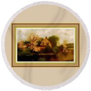 House Near The River. L B With Decorative Ornate Printed Frame. Round Beach Towel