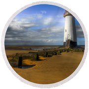House Of Light Round Beach Towel
