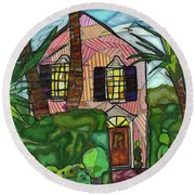 House Of Pink Round Beach Towel