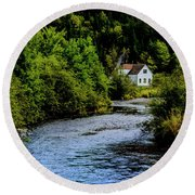 House On Margaree River Round Beach Towel