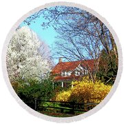 House On The Hill In Spring Round Beach Towel