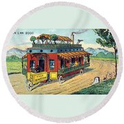 House On Wheels, 1900s French Postcard Round Beach Towel