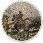 House Statue In The Field Round Beach Towel