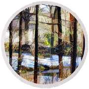 House Surrounded By Trees 2 Round Beach Towel