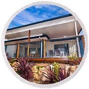 House With Deck Round Beach Towel