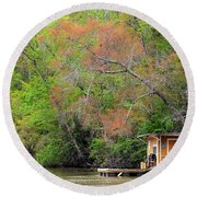 Houseboat On The Apalachicola River Round Beach Towel