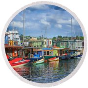 Houseboats - 3 - Lake Union - Seattle Round Beach Towel