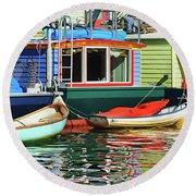 Houseboats 4 - Lake Union - Seattle Round Beach Towel
