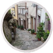 Houses Along Alley In The Old Town Of Porto Round Beach Towel