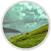 Houses And Ruins.  Round Beach Towel