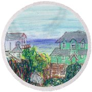 Houses At Whalehead Beach Round Beach Towel