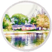 Houses By The Lake 1 Round Beach Towel