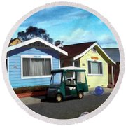 Houses In A Row Round Beach Towel