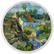 Houses In Auvers Round Beach Towel