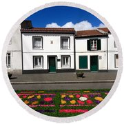 Houses In The Azores Round Beach Towel