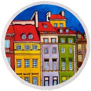 Houses In The Oldtown Of Warsaw Round Beach Towel