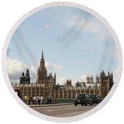 Houses Of Parliament.  Round Beach Towel
