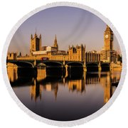 Houses Of Parliament With Westminster Bridge. Round Beach Towel