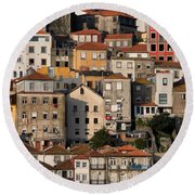Houses Of Porto In Portugal Round Beach Towel