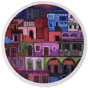 Houses Of San Miguel 2 Round Beach Towel