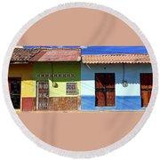 Houses On Street In Leon, Nicaragua Round Beach Towel