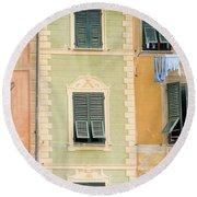 Houses, Portofino, Italy Round Beach Towel