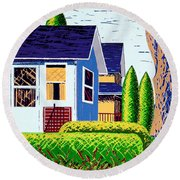 Houses Remastered Round Beach Towel