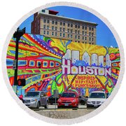 Houston, Inspired, Hip, Tasty, Funky, Savvy Round Beach Towel