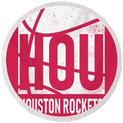 Houston Rockets City Poster Art Round Beach Towel