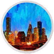 Houston Skyline 102 - Pa Round Beach Towel