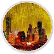 Houston Skyline 111 - Pa Round Beach Towel