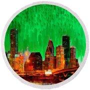 Houston Skyline 112 - Pa Round Beach Towel