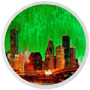 Houston Skyline 115 - Pa Round Beach Towel