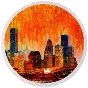 Houston Skyline 116 - Pa Round Beach Towel