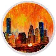 Houston Skyline 119 - Pa Round Beach Towel