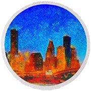 Houston Skyline 130 - Pa Round Beach Towel