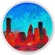 Houston Skyline 131 - Pa Round Beach Towel
