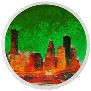 Houston Skyline 133 - Pa Round Beach Towel