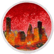 Houston Skyline 134 - Pa Round Beach Towel
