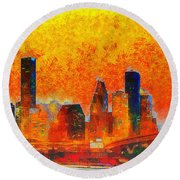Houston Skyline 135 - Pa Round Beach Towel