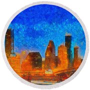 Houston Skyline 40 - Pa Round Beach Towel