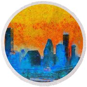 Houston Skyline 41 - Pa Round Beach Towel