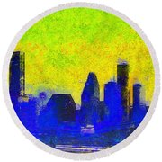 Houston Skyline 42 - Pa Round Beach Towel