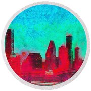 Houston Skyline 44 - Pa Round Beach Towel