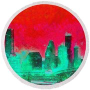 Houston Skyline 47 - Pa Round Beach Towel