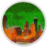 Houston Skyline 48 - Pa Round Beach Towel