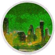 Houston Skyline 49 - Pa Round Beach Towel