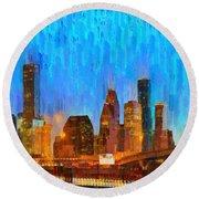 Houston Skyline 80 - Pa Round Beach Towel